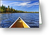 Aluminum Greeting Cards - Canoe bow on lake Greeting Card by Elena Elisseeva