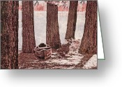 Fallen Leaf Greeting Cards - Canoe in the Woods Greeting Card by Cheryl Young