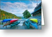 Monongahela River Greeting Cards - Canoes And The Monongahela Greeting Card by Steven Ainsworth
