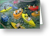 Great Painting Greeting Cards - Canoes Greeting Card by Andrew Macara