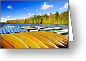 Docks Greeting Cards - Canoes on autumn lake Greeting Card by Elena Elisseeva
