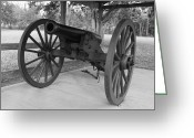 Robyn Stacey Photo Greeting Cards - Canon at Fort Washita in bw Greeting Card by Robyn Stacey