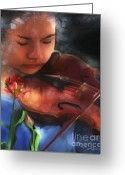 Violinist Greeting Cards - Cantata Greeting Card by Bob Salo