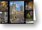 Selection Greeting Cards - Canterbury Cathedral Collage Greeting Card by Donald Davis