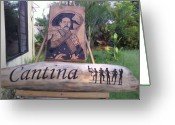 Pancho Greeting Cards - Cantina Pancho Villa Greeting Card by Calixto Gonzalez