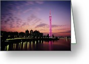 Communications Tower Greeting Cards - Canton Tv Tower In Sunset Glow Greeting Card by Jimmy Tsang