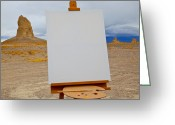 Easel Greeting Cards - Canvas and Easel in Desert Greeting Card by David Buffington