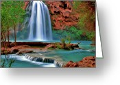 Hear Greeting Cards - Canyon Falls Greeting Card by Scott Mahon