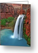 Canyon Walls Greeting Cards - Canyon Falls Vertical Greeting Card by Scott Mahon