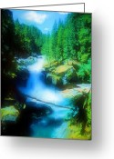 Pencil Drawing Digital Art Greeting Cards - Canyon River Greeting Card by Garry Staranchuk