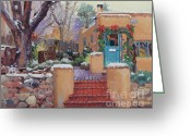 Adobe Architecture Greeting Cards - Canyon Road Christmas Greeting Card by Gary Kim