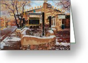 Adobe Architecture Greeting Cards - Canyon road Winter Greeting Card by Gary Kim