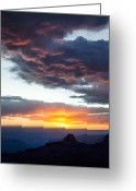 Sundown Greeting Cards - Canyon Sunset Greeting Card by David Bowman