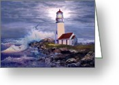 Waves Painting Greeting Cards - Cape Blanco Oregon Lighthouse on Rocky Shores Greeting Card by Gina Femrite