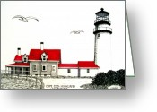 Historic Lighthouse Drawings Greeting Cards - Cape Cod - Highland - Lighthouse Greeting Card by Frederic Kohli