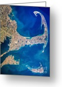 Martha Greeting Cards - Cape Cod and Islands Spring 1997 view from satellite Greeting Card by Matt Suess