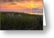 Sunrise Greeting Cards - Cape Cod Bay Sunset Greeting Card by Bill  Wakeley