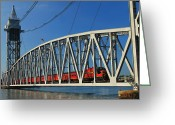 Cape Cod Greeting Cards - Cape Cod Canal Railroad Bridge Train Greeting Card by John Burk