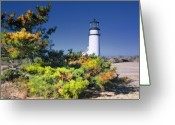 Posters And Greeting Cards - Cape Cod Highland Light Greeting Card by Dapixara Art