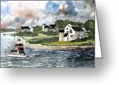 Anglers Greeting Cards - Cape Cod Lighthouse Greeting Card by Derek Mccrea