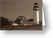 Cape Cod Mass Photo Greeting Cards - Cape Cod Lighthouse Greeting Card by Skip Willits