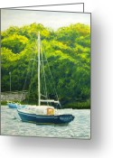 Woods Pastels Greeting Cards - Cape Cod Sailboat Greeting Card by Joan Swanson
