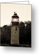 Old Relics Greeting Cards - Cape Crocker Lighthouse 2 Greeting Card by Cyryn Fyrcyd