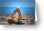 Old Relics Greeting Cards - Cape Crockers Inukshuk Greeting Card by Cyryn Fyrcyd