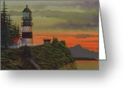 Sunset Greeting Cards Mixed Media Greeting Cards - Cape Disappointment Greeting Card by James Lyman