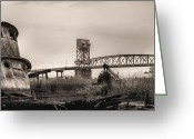 Ship-wreck Greeting Cards - Cape Fear Memorial Bridge Greeting Card by JC Findley