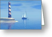 Sailboat Picture Greeting Cards - Cape Hatteras Greeting Card by Corey Ford
