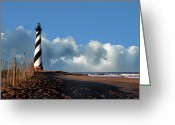 Black And White Pictures Greeting Cards - Cape Hatteras Light Greeting Card by Skip Willits
