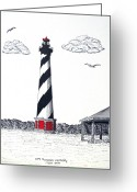 Historic Lighthouse Drawings Greeting Cards - Cape Hatteras Lighthouse Drawing Greeting Card by Frederic Kohli