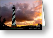 Hatteras Greeting Cards - Cape Hatteras Sunset Greeting Card by Nick Zelinsky