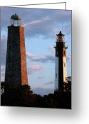 Black And White Pictures Greeting Cards - Cape Henry Lighthouses In Virginia Greeting Card by Skip Willits