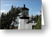 Cape Greeting Cards - Cape Meares Lighthouse near Tillamook on the scenic Oregon Coast Greeting Card by Christine Till