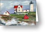 York Maine Greeting Cards - Cape Neddic Lighthouse  Greeting Card by Nancy Patterson