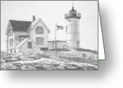 Flag Drawings Greeting Cards - Cape Neddick Light House Drawing Greeting Card by Dominic White