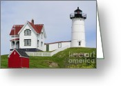 Shed Greeting Cards - Cape Neddick Light Greeting Card by Luke Moore