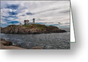 Cape Neddick Light Station Greeting Cards - Cape Neddick Light Station Greeting Card by Guy Whiteley