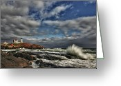 Neddick Greeting Cards - Cape Neddick Lighthouse Greeting Card by Rick Berk