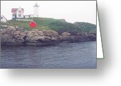 York Maine Greeting Cards - Cape Neddick Lighthouse Greeting Card by Thomas R Fletcher