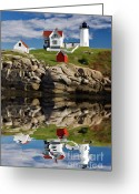 Nubble Greeting Cards - Cape Neddick Reflection - D003756a Greeting Card by Daniel Dempster