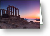 Parthenon Greeting Cards - Cape Sounion Greeting Card by Emmanuel Panagiotakis