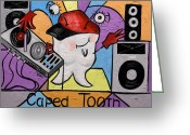 Limited Edition Mixed Media Greeting Cards - Caped Tooth Greeting Card by Anthony Falbo