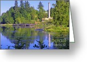 Autumns Mixed Media Greeting Cards - Capitol Lake - Olympia Washington Greeting Card by Photography Moments - Sandi