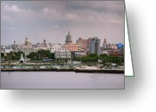 Discovery Channel Greeting Cards - Capitol seen from La Cabana. La Habana. Cuba Greeting Card by Juan Carlos Ferro Duque