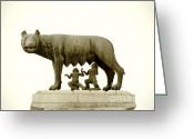 Twins Greeting Cards - Capitoline she-wolf Greeting Card by Fabrizio Troiani