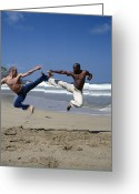 Jumping Greeting Cards - Capoeira Greeting Card by Tony Mcconnell