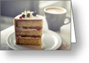 Cup Photo Greeting Cards - Cappuccino And Cake Greeting Card by Amparo E. Rios